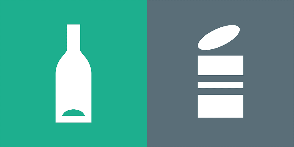 Waste symbol for glass and metal packaging
